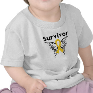 Childhood Cancer Survivor Tribal Butterfly T Shirt