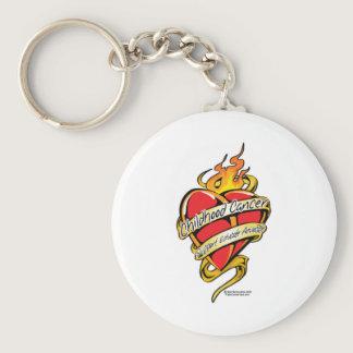 Childhood Cancer Tattoo Heart Keychain