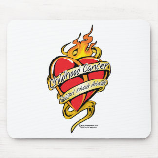 Childhood Cancer Tattoo Heart Mouse Pad