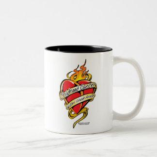Childhood Cancer Tattoo Heart Two-Tone Coffee Mug
