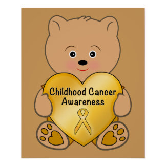 Childhood Cancer Teddy Bear with Heart Poster