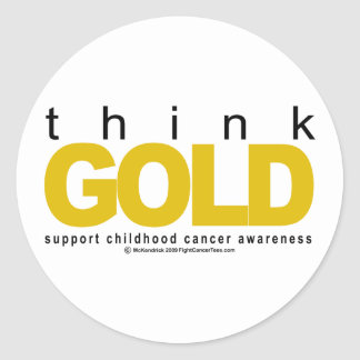 Childhood Cancer Think GOLD Classic Round Sticker