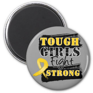 Childhood Cancer Tough Girls Fight Strong 2 Inch Round Magnet