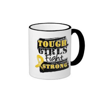 Childhood Cancer Tough Girls Fight Strong Ringer Coffee Mug