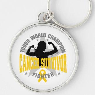 Childhood Cancer Tough Survivor Silver-Colored Round Keychain