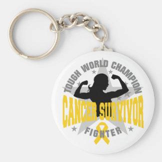 Childhood Cancer Tough Survivor Basic Round Button Keychain