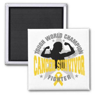 Childhood Cancer Tough Survivor 2 Inch Square Magnet