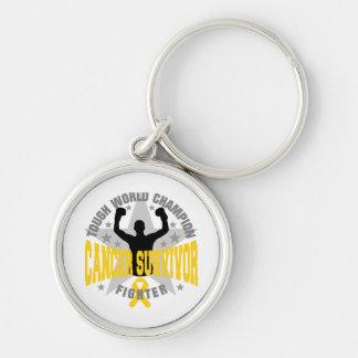 Childhood Cancer Tough World Champion Survivor Silver-Colored Round Keychain