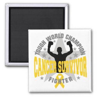 Childhood Cancer Tough World Champion Survivor 2 Inch Square Magnet