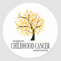 Childhood Cancer Tree Classic Round Sticker