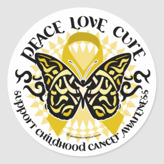 Childhood Cancer Tribal Butterfly Classic Round Sticker