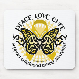 Childhood Cancer Tribal Butterfly Mouse Pad