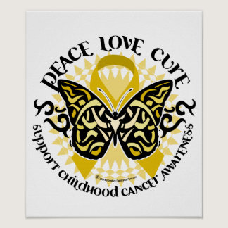 Childhood Cancer Tribal Butterfly Poster