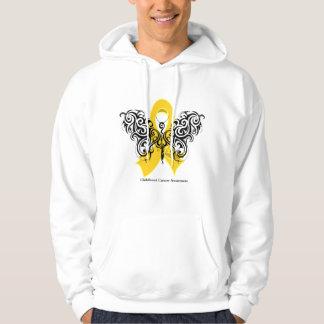 Childhood Cancer Tribal Butterfly Ribbon Hooded Sweatshirt