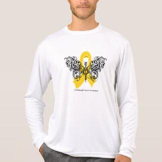 Childhood Cancer Tribal Butterfly Ribbon Tee Shirt