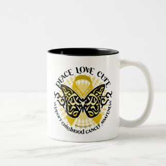 Childhood Cancer Tribal Butterfly Two-Tone Coffee Mug