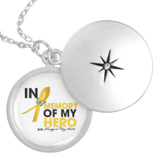 Childhood Cancer Tribute In Memory of My Hero Round Locket Necklace