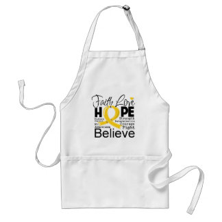 Childhood Cancer Typographic Faith Love Hope Adult Apron