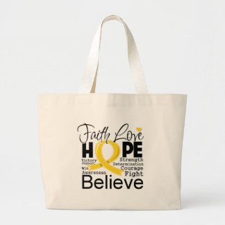 Childhood Cancer Typographic Faith Love Hope Canvas Bags