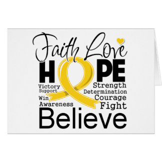 Childhood Cancer Typographic Faith Love Hope Greeting Cards
