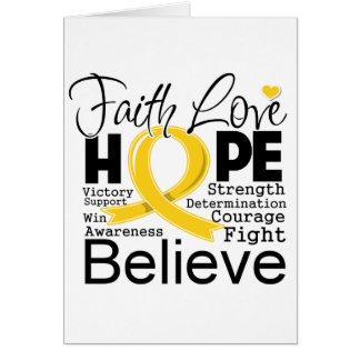 Childhood Cancer Typographic Faith Love Hope Cards