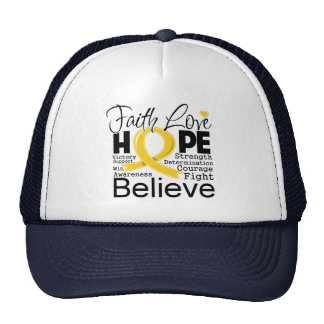 Childhood Cancer Typographic Faith Love Hope Trucker Hat