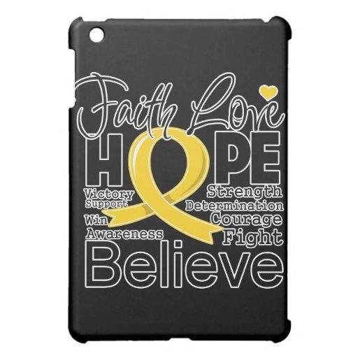 Childhood Cancer Typographic Faith Love Hope iPad Mini Cases