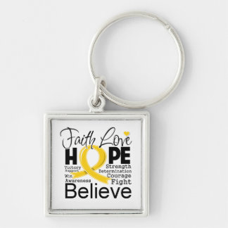 Childhood Cancer Typographic Faith Love Hope Keychains