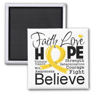 Childhood Cancer Typographic Faith Love Hope Magnet