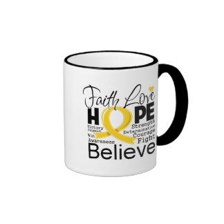 Childhood Cancer Typographic Faith Love Hope Ringer Coffee Mug