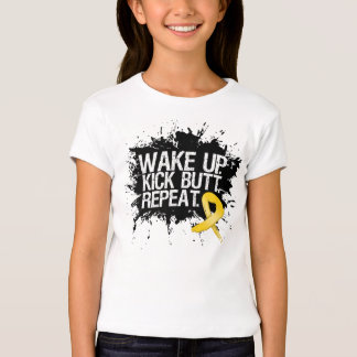 Childhood Cancer Wake Up Kick Butt Repeat T-Shirt