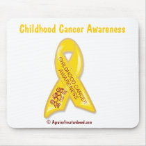 Childhood Cancer Yellow Ribbon Mouse Pad