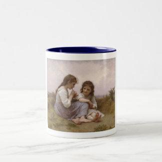 Childhood Idyll by Bouguereau Two-Tone Coffee Mug