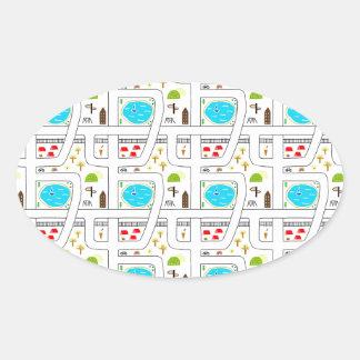 Childhood Map Oval Sticker