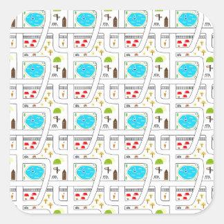 Childhood Map Square Sticker
