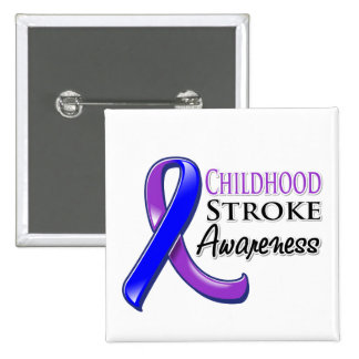 Childhood Stroke Awareness Ribbon Pinback Buttons