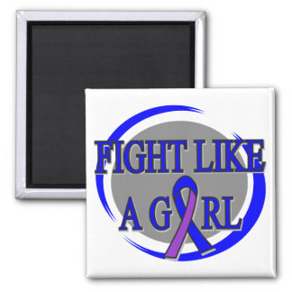 Childhood Stroke Fight Like A Girl Circular 2 Inch Square Magnet