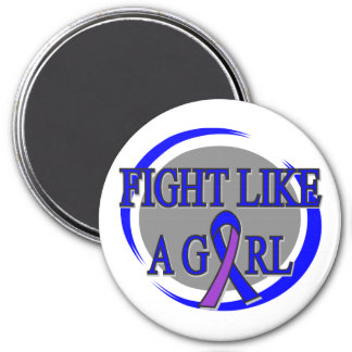 Childhood Stroke Fight Like A Girl Circular 3 Inch Round Magnet
