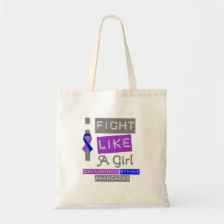 Childhood Stroke Label Logo I Fight Like A Girl Tote Bags