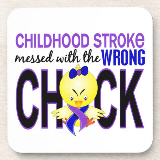 Childhood Stroke Messed With Wrong Chick Beverage Coasters