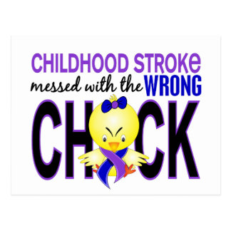 Childhood Stroke Messed With Wrong Chick Postcard