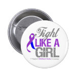 Childhood Stroke Ribbon - Fight Like a Girl Pinback Button