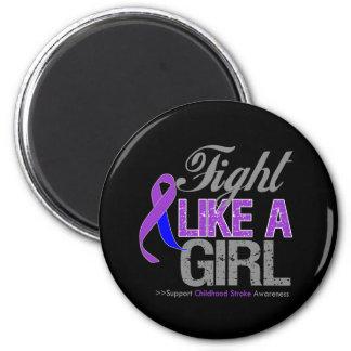 Childhood Stroke Ribbon - Fight Like a Girl Refrigerator Magnets