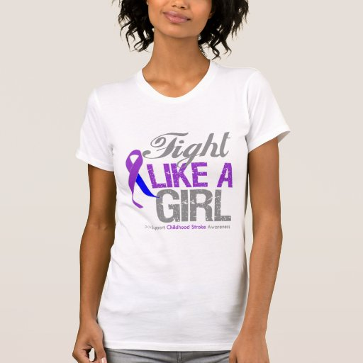 Childhood Stroke Ribbon - Fight Like a Girl T Shirt