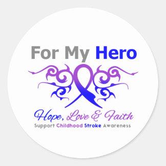 Childhood Stroke Tribal Ribbon Hero Stickers