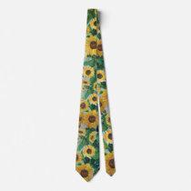 childhood sunflowers neck tie