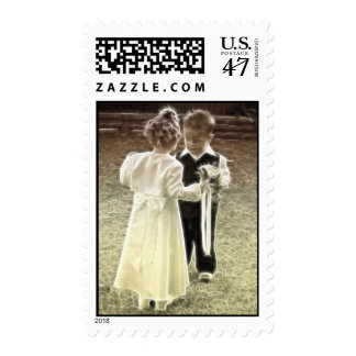 Childhood sweethearts blank Wedding Invitation Postage