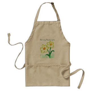 Childish Flower Watercolor Painting with Text Adult Apron