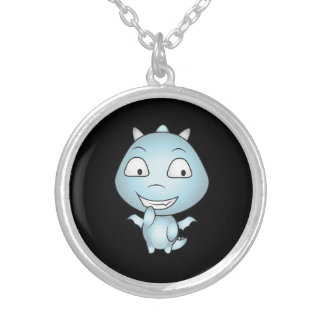 Childish Gargoyle Cartoon, Fun Smiling Silver Plated Necklace