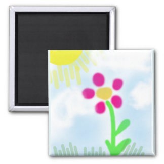 Childish Pink Flower with Sun Refrigerator Art 2 Inch Square Magnet